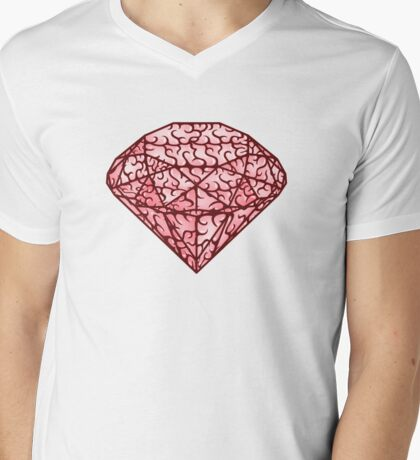 Brain diamond Mens V-Neck T-Shirt