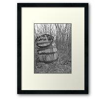barrel in brush Framed Print