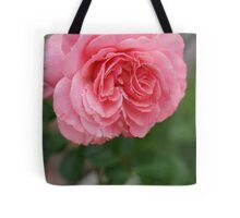 Hope for a new day!  Refreshed in pink!  Rose gets a drink in the dew! Hope in pink!   La Mirada, CA Tote Bag