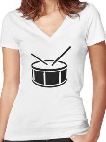 Drum drumsticks Women's Fitted V-Neck T-Shirt