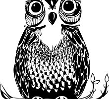 Black and White Drawn Owl by tanyadraws