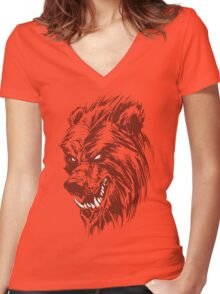 The Benday Bear Experiment Women's Fitted V-Neck T-Shirt