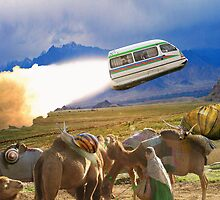 Balochistan Hover Van blasts off past the Vilo Snail Robocamel Caravan by Kenny Irwin