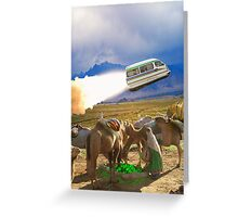 Balochistan Hover Van blasts off past the Vilo Snail Robocamel Caravan Greeting Card