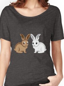 White and brown rabbits Women's Relaxed Fit T-Shirt