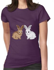 White and brown rabbits Womens Fitted T-Shirt