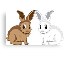 White and brown rabbits Canvas Print