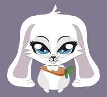 Cute small white lovely bunny holding carrot Kids Clothes