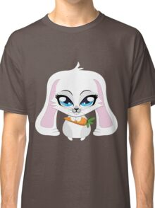 Cute small white lovely bunny holding carrot Classic T-Shirt