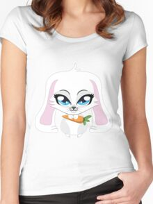 Cute small white lovely bunny holding carrot Women's Fitted Scoop T-Shirt