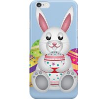 Cute small white lovely bunny with colorful Easter eggs iPhone Case/Skin