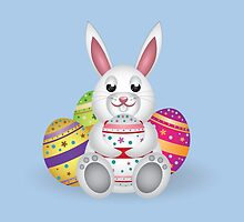 Cute small white lovely bunny with colorful Easter eggs by AnnArtshock