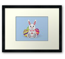 Cute small white lovely bunny with colorful Easter eggs Framed Print