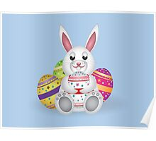 Cute small white lovely bunny with colorful Easter eggs Poster