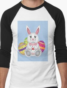 Cute small white lovely bunny with colorful Easter eggs Men's Baseball ¾ T-Shirt