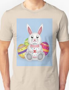 Cute small white lovely bunny with colorful Easter eggs T-Shirt