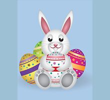 Cute small white lovely bunny with colorful Easter eggs Unisex T-Shirt