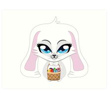 White bunny with Easter eggs Art Print