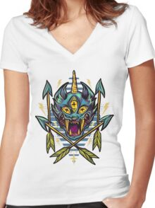 Cat Beast  Women's Fitted V-Neck T-Shirt