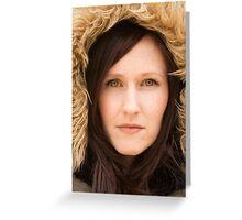 Sarah, closeup with hood Greeting Card