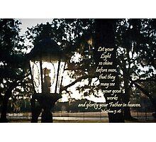 House Lantern- Matthew 5:16 Photographic Print