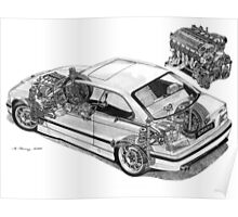 BMW E36 M3 Cutaway - Text Removed Poster