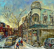CONNIE'S PIZZA POINTE ST.CHARLES AAND HOCKEY MONTREAL WINTER STREETS by Carole  Spandau