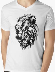Black Werebear Mens V-Neck T-Shirt