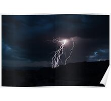 Lightning Strikes over Snow Canyon, Utah Poster