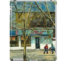 HOCKEY PRACTICE IN ST.HENRI COLD DAY IN MONTREAL NEAR THE PIZZERIA iPad Case/Skin