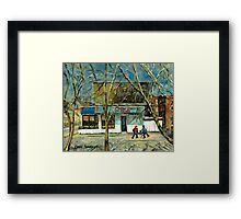 HOCKEY PRACTICE IN ST.HENRI COLD DAY IN MONTREAL NEAR THE PIZZERIA Framed Print