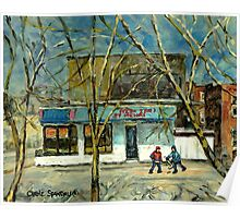 HOCKEY PRACTICE IN ST.HENRI COLD DAY IN MONTREAL NEAR THE PIZZERIA Poster