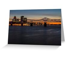 A telephoto look at the Louisville skyline at dusk  Greeting Card