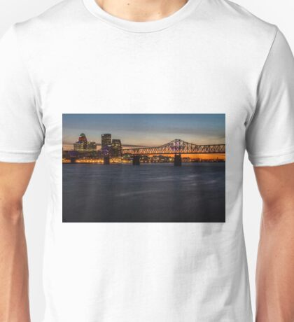 A telephoto look at the Louisville skyline at dusk  Unisex T-Shirt