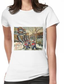 VERDUN BOYS PLAYING STREET HOCKEY MONTREAL WINTER SCENE PAINTINGS Womens Fitted T-Shirt