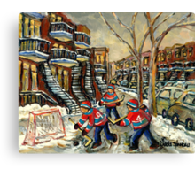 VERDUN BOYS PLAYING STREET HOCKEY MONTREAL WINTER SCENE PAINTINGS Canvas Print