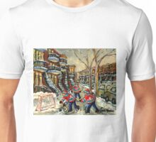 VERDUN BOYS PLAYING STREET HOCKEY MONTREAL WINTER SCENE PAINTINGS Unisex T-Shirt