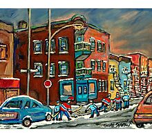WILENSKY'S DINER AND HOCKEY MONTREAL WINTER SCENE PAINTINGS Photographic Print