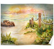 Beach Post Sunrise Poster