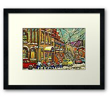 BAGG STREET SYNAGOGUE MONTREAL AND HOCKEY GAME Framed Print