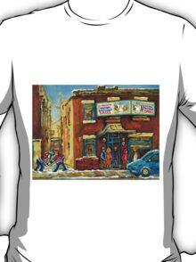 HOCKEY GAME NEAR THE FAIRMOUNT BAGEL MONTREAL  T-Shirt