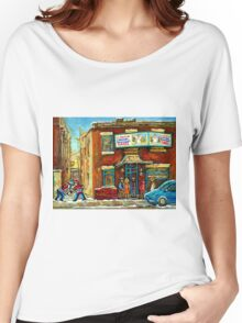 HOCKEY GAME NEAR THE FAIRMOUNT BAGEL MONTREAL  Women's Relaxed Fit T-Shirt