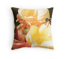 Yellow Jacket at the watering hole Throw Pillow