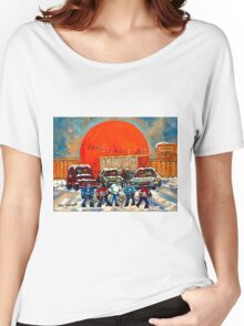 HOCKEY GAME AT THE ORANGE JULEP MONTREAL STREET SCENE PAINTING Women's Relaxed Fit T-Shirt