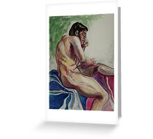 Male Nude in Thought (In Progress) (Mixed Media)- Greeting Card