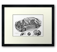 BMW M3 (E46) Cutaway Text removed Framed Print