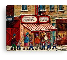 AFTER THE HOCKEY GAME SCHWARTZ'S DELI MONTREAL WINTER SCENE Canvas Print