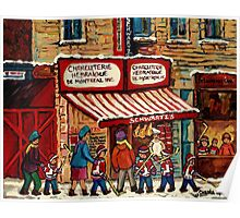 AFTER THE HOCKEY GAME SCHWARTZ'S DELI MONTREAL WINTER SCENE Poster