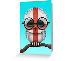 Nerdy English Baby Owl on a Branch Greeting Card