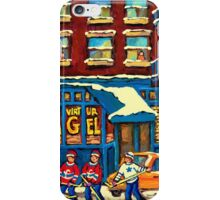 ST.VIATEUR BAGEL MONTREAL WITH HOCKEY GAME MONTREAL CITY WINTER SCENE PAINTING iPhone Case/Skin